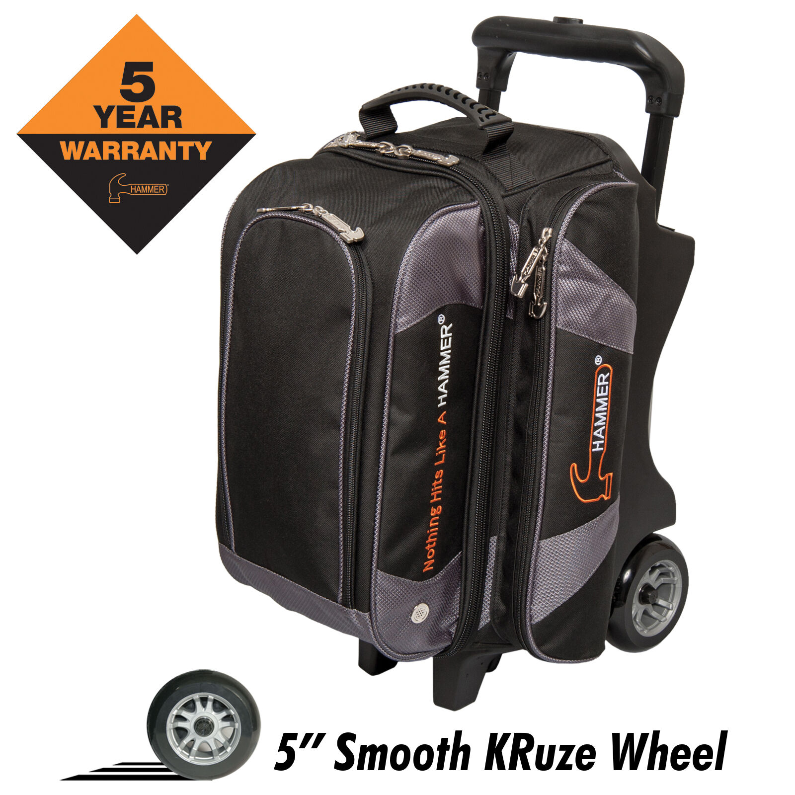 Hammer Premium Double Roller 2 Ball Bowling Bag Carbon
