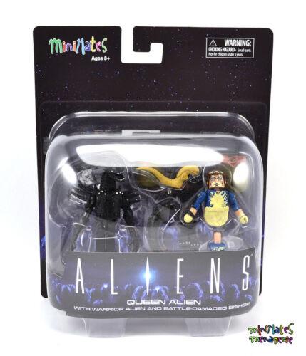 Aliens Minimates Deluxe Queen Alien with Warrior Alien /& Battle Damaged Bishop