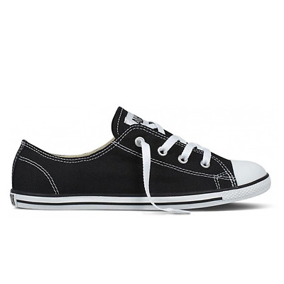 Converse Chuck Taylor all Star Women Dainty Ox Black Flat Slim Black Sneaker | eBay