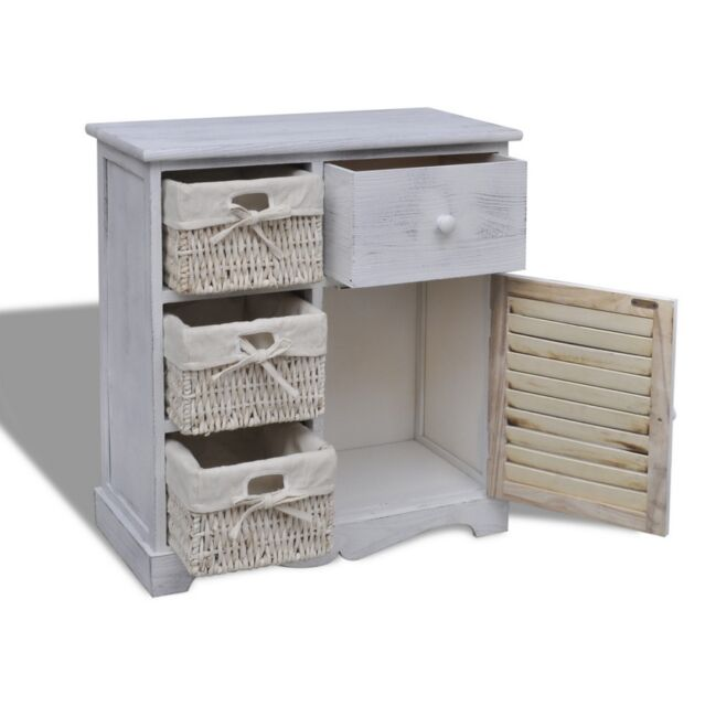 WHITE Cabinet Bathroom Wooden Storage Unit Cupboard Baskets Floor Drawer Kitchen
