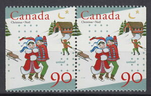 Canada-1629as-90-UNICEF-and-Christmas-Pair-from-Booklet-Mint-Never-Hinged-A