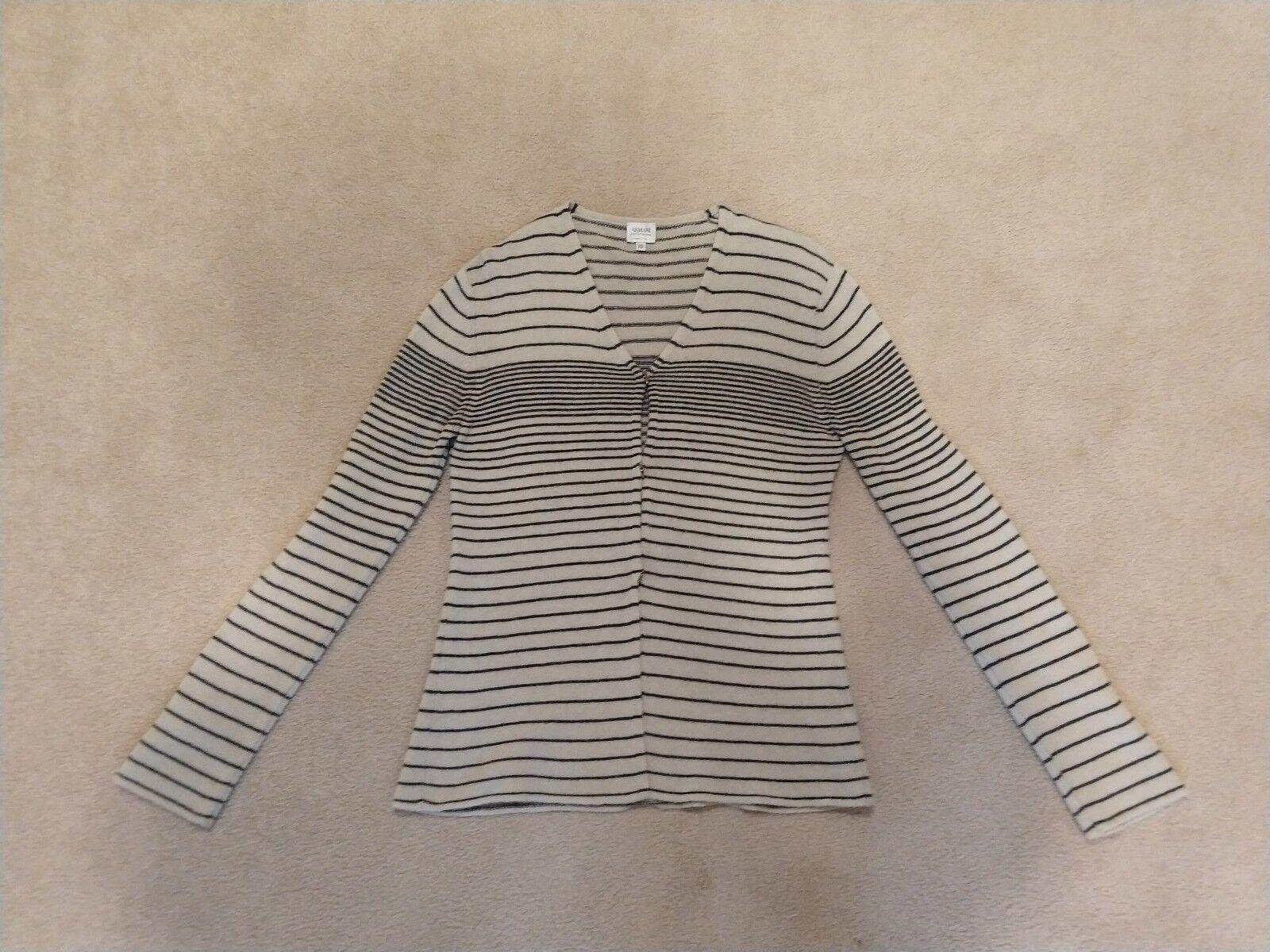 Women's Armani Collezioni striped cardigan sweater size 10 merino cashmere blend