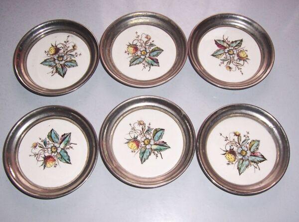 6 Muy Bonita Estilo Moderno Base Salvajes Fresa Porcelana Níquel Um 1910 Tiempo Puntual