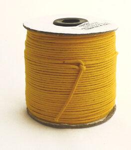 100m-Baumwollband-0-13-1m-gelb-1-5-mm-rund-poliert-gewachst-Rolle-Spule