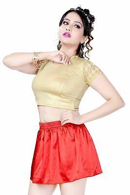 Red Elasticated High Waist Satin Short Mini Skirt Women/'s Girls Party Puffer 054