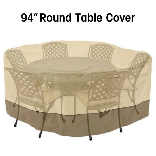 Waterproof Garden Furniture Cover Round Patio Table Chairs Cover W/Umbrella Hole For Sale Online | EBay