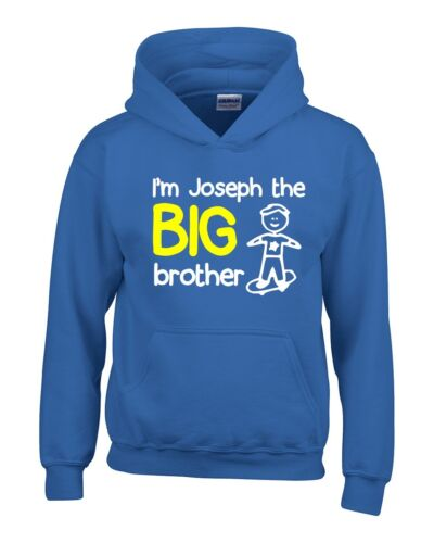 Personalised I/'m The Big Brother Boys Hoodie 3-14 Yrs Funny Custom Gift Present