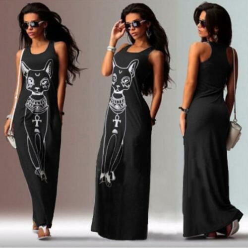Women Casual Sleeveless Dress Boho Cat Print Long Cocktail Party Beach Dress