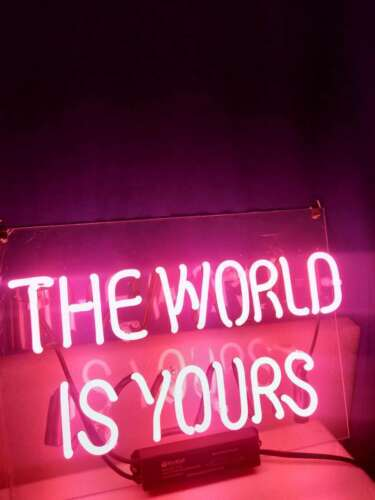 """14/""""x8/""""The World Is Yours Neon Sign Light Room Wall Decor Handmade Visual Artwork"""