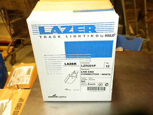 LASER HALO TRACK LIGHTING LIVE END CONNECTOR LZR201P WHITE NEW BOX