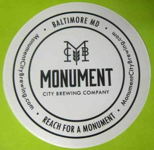 Label MARYLAND Baltimore MONUMENT CITY BREWING COMPANY 4 inch Beer STICKER