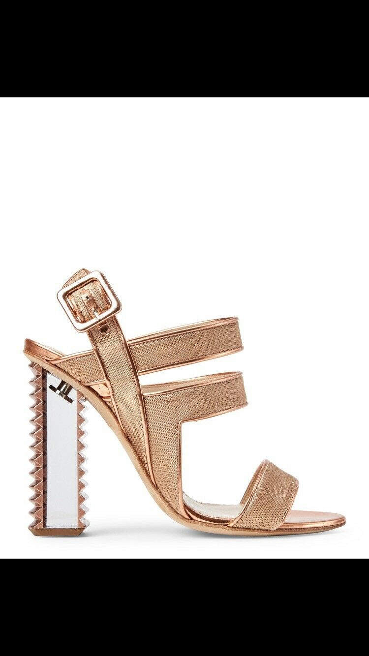 APERLAI Nude pink gold gold gold Strappy Lucite Heel RETAIL  800 684b67