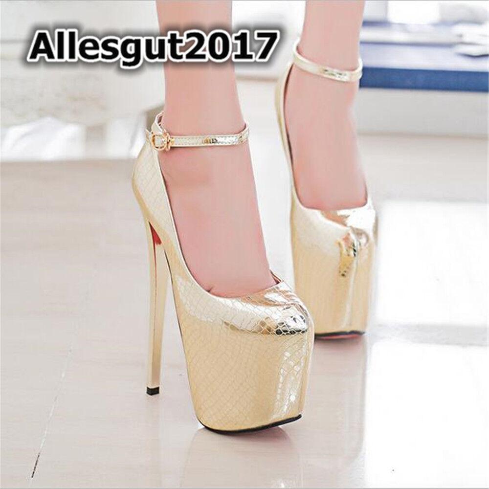 High Heels Ankle Strap  Glitter NEW 19 cm Partito Sexy donna scarpe Stiletto  negozio online