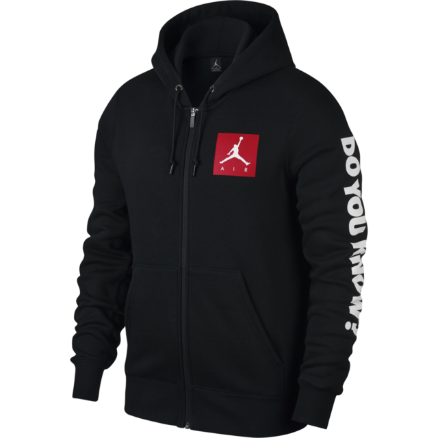 Nike Air Jordan AJ3 Flight Full Zip Fleece Hoodie Men Black 943924 010 Size XXL
