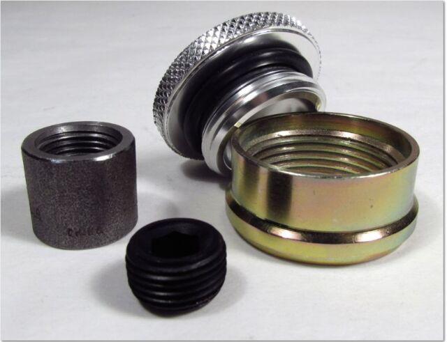 Weld-on Steel Filler Neck & Drain Plug - Rearend - Gas Tank - Aluminum Cap  REFD