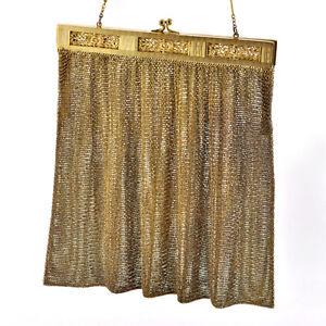 Vintage-Art-Deco-period-Fabulous-Lady-s-gold-tone-Color-Mesh-Evening-Purse