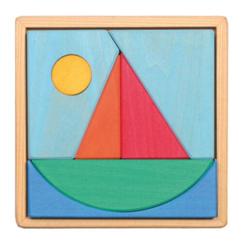 Grimm's Spiel und Holzdesign 43693 Bauspiel Legespiel Segelschiff im Holzrahmen Holzspielzeug Motorikspielzeug