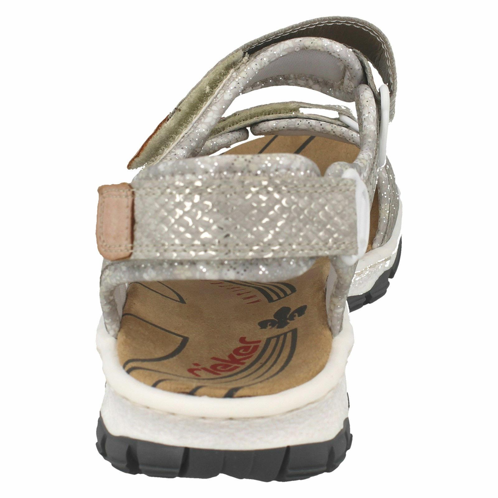 LADIES RIEKER RIEKER RIEKER 68852 GLITTER HOOP LOOP STRAP WALKING SANDALS SUMMER SIZE VEGAN 308769