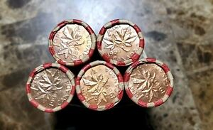 Canada-1959-Five-Rolls-of-UNC-Uncirculated-Unsearched-Pennies