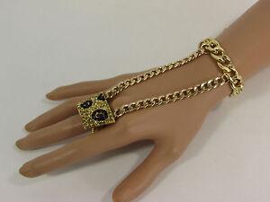 c89419cc7150 Detalles de De Mujer Pulsera Moda Oro Metal Leopardo Diamante Imitacion  Esclava Anillo