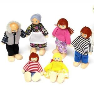 6 Dolls Cute Wooden House Family People Set Kids Children Pretend Playing Toys /<