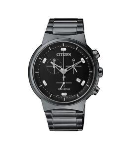 Citizen-Eco-Drive-Men-039-s-Chronograph-Black-Bracelet-41mm-Watch-AT2405-87E