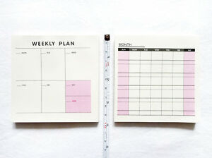 NEW WEEKLY (Daily) MONTHLY PLANNER Paper Note Pad Set 60 Sheets Each