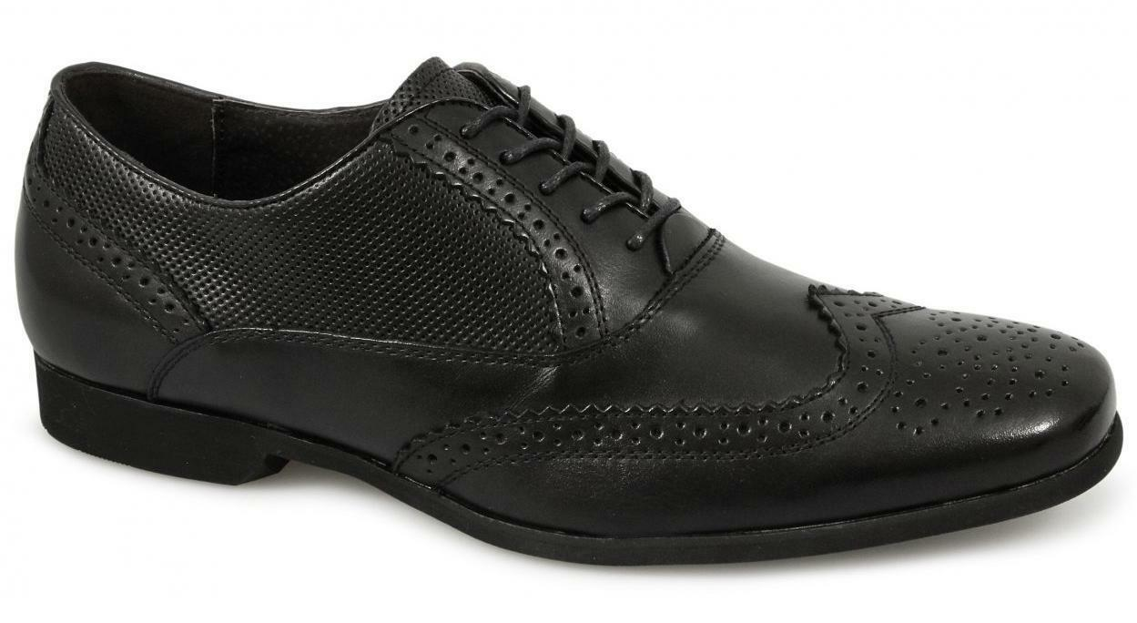 Front LAGOON Mens Perforated Leather Brogue Formal Detailed Evening Shoes Black