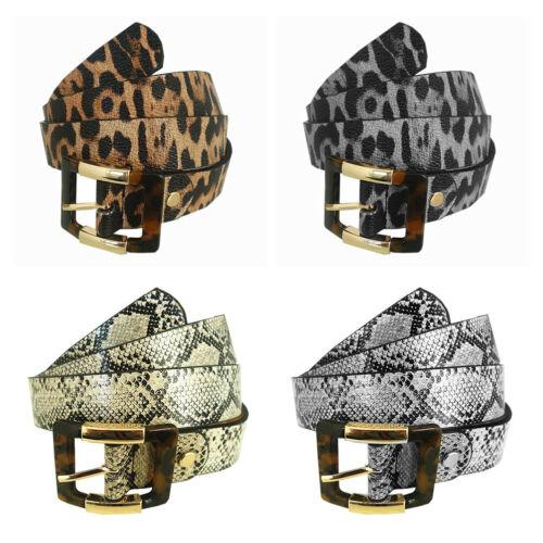 Damen Leder Gürtel Schwarz Grau Nude mit Leoparden Schlange Muster GZ-2035