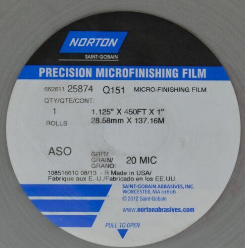 "Norton Precision Micro Finishing Film Q151 1.125/"" x 450 FT x 1/"" 20 MIC New"