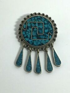 Vintage-Sterling-Silver-Brooch-Turquoise-Mexico-Needle-Dangle-Deco-Taxco-Round