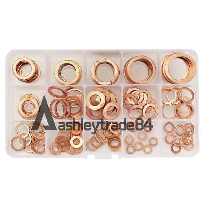 Assorted 15 Size 150Pcs Solid Copper Crush Washers Seal Flat Oil Brake Ring Kit