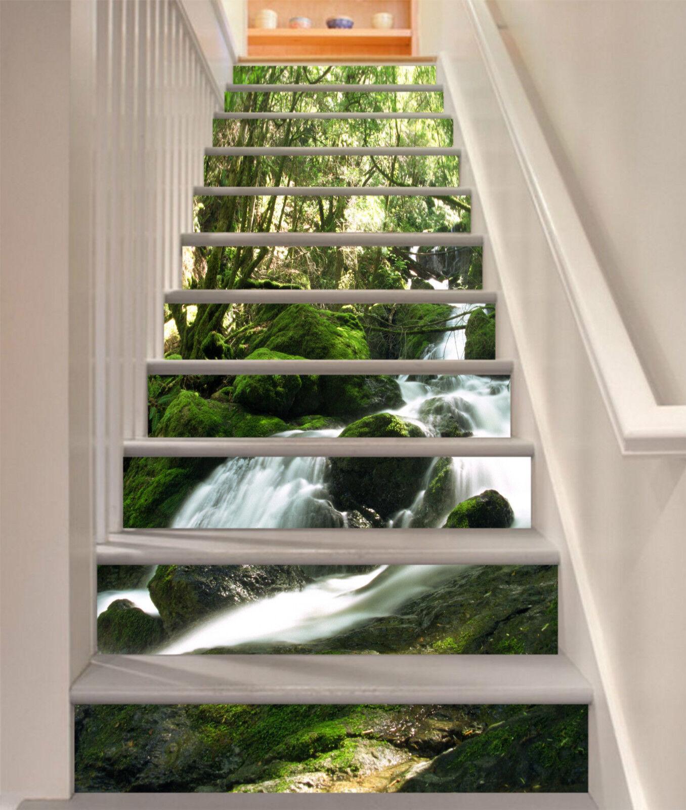 3D Bach Baum 356 Stair Risers Dekoration Fototapete Vinyl Aufkleber Tapete DE