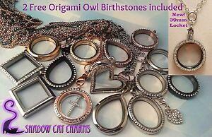Large-Floating-Charm-Locket-Rolo-Chain-2-FREE-Origami-Owl-Charm-Birthstones