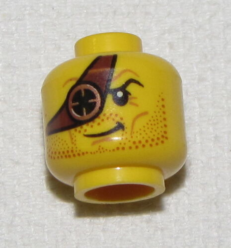 LEGO NEW MINIFIGURE HEAD WITH EYE PATCH AND STUBBLE DUAL SIDED