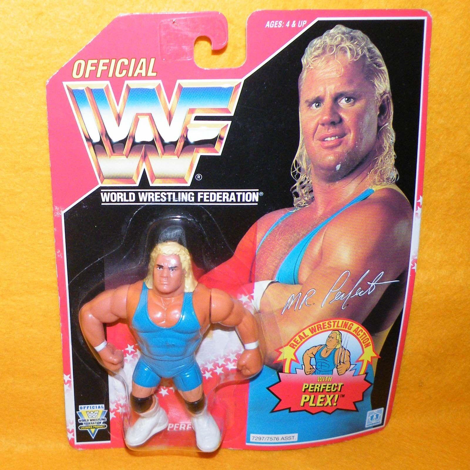 Vintage 1993 HASBRO WWF Wrestling Series 8 Mr. Perfecto figura Moc Cochedado Rojo