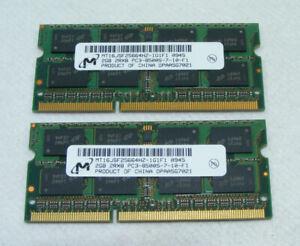 RAM Lot 2 Barrettes Mémoire 2GB (4GB) PC3 2RX8 MT16JSF25664HZ ACER ASPIRE 7440G