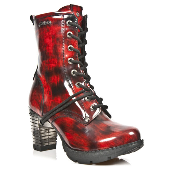 New Rock Damenstiefelette Absatz Boots Schuhe Gothic Rot Schwarz