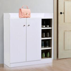 Wood-Shoe-Cabinet-Storage-Rack-Closet-2-Door-12-Pairs-Entryway