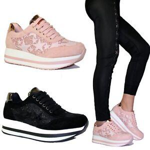 Caricamento dell immagine in corso Scarpe-donna-Sneakers-Stelle-Ginnastica -Glitter-Platform-Zeppa- ffcb97eac01