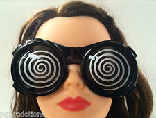 XRAY HYPNO GLASSES Steampunk Sunglasses Costume Swirl Black Goggle Mad Scientist