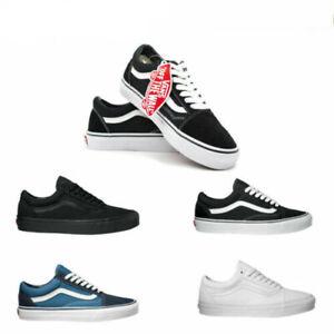 VAN Old School Skate Shoes Black//White Classic Canvas Sneaker All Size UK3-UK9.5