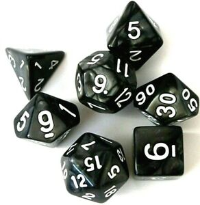 RPG-Tabletop-DnD-Spiel-Dice-Roleplay-Warhammer-Wuerfel-Set-7-teilig-Pearl-Schwarz