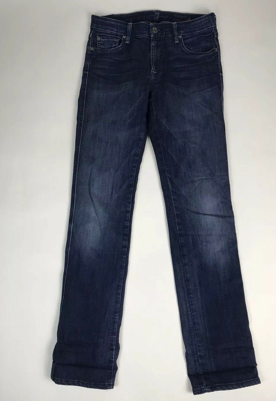 7 For All Mankind 27 Women's Kimmie Straight Leg Jeans Cotton Denim Pants Taper
