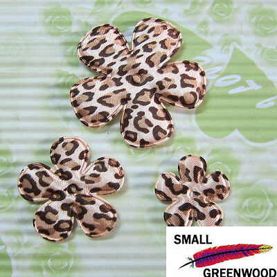 """(U Pick) Wholesale 50-500 Pcs 1""""-2"""" Padded Leopard Satin Flower Appliques F3400B"""