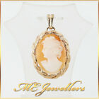 Solid 9ct 9k 375 Yellow Gold Cameo Pendant Ladies Perfect Gift Collectable