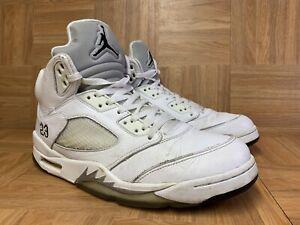timeless design 22b82 c886a Details about RARE🔥 Nike Air Jordan 5 V Retro White Metallic Silver Gray  Sz 11 136027-130