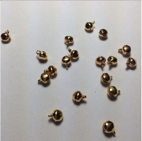 10//25//50//100x Glöckchen Glocken Metall Deko Basteln Öse 6x8 mm Gold Farbe