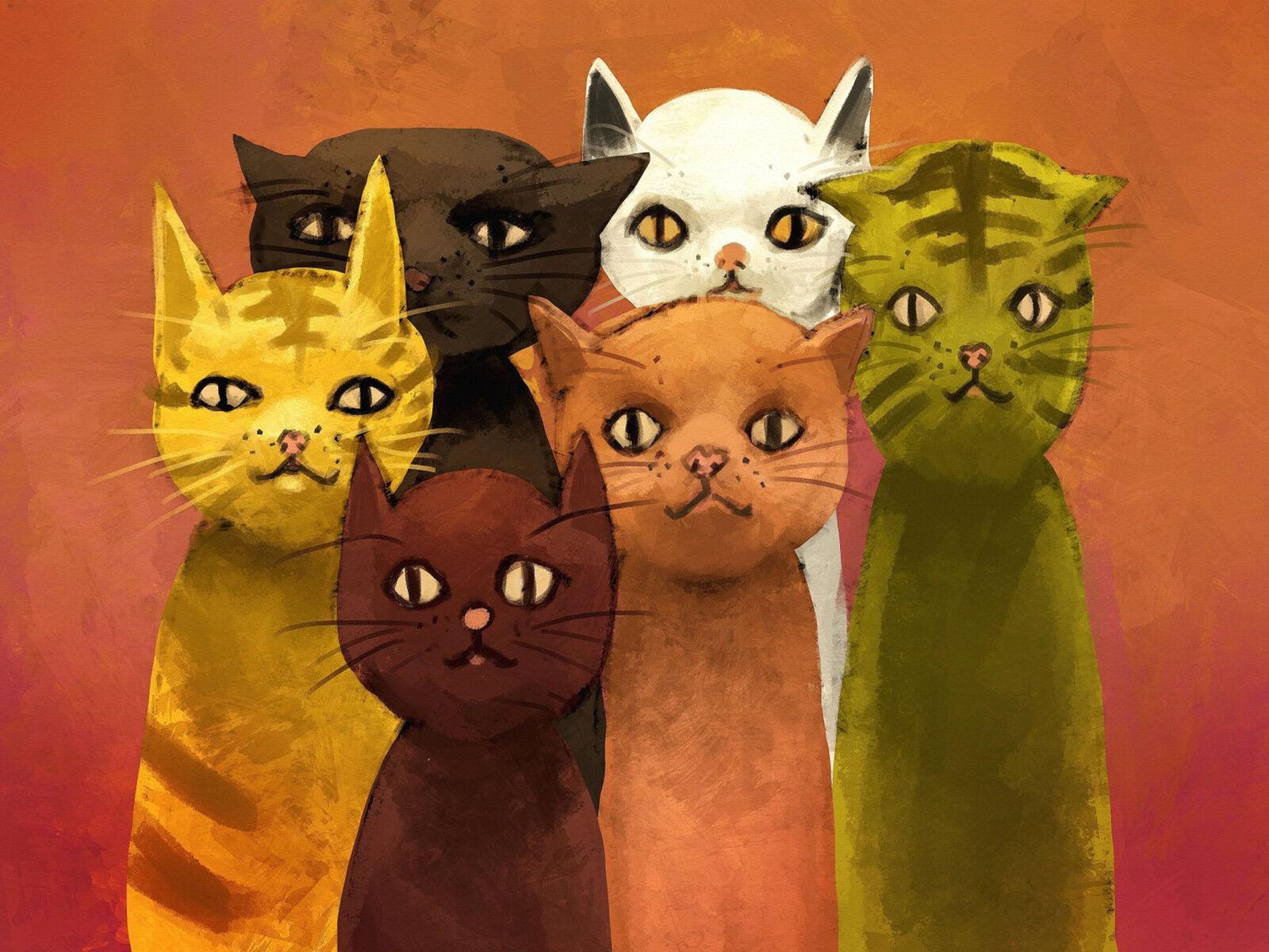 3D Nette Katze Fototapeten Wandbild Fototapete Bild Tapete Familie KinderMod