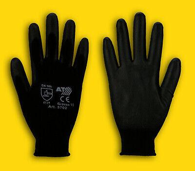 1-240 Paar Pu-handschuhe, Arbeitshandschuhe, Montagehandschuhe Schwarz (gr.8-11) Hindernis Entfernen